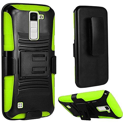 LG K10 Case, LG Premier LTE Case, SOGA [Muscular Tough Series] Hybrid Super Armor Cover Protector Case with Belt Clip Holster & Kickstand for LG K10 / Premier LTE - Black/Neon Green