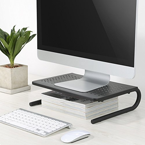 Monitor Stand Riser with Vented Metal for Computer, Laptop, Desk, iMac, Printer with 14.5 Platform 4 inch Height (Black, 2 Pack) by HUANUO (Image #3)