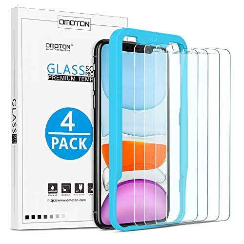 OMOTON [4-Pack] Screen Protector for iPhone 11 / iPhone XR 6.1inch - Tempered Glass/Guide Frame/Easy Installation