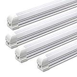 LED T8 Integrated Single Fixture Tube Light, 8FT, 72W, 5000K,Daylight White 7200lm, Frosted Cover Anti Glare Linkable LED Shop Light Bulb, Garage, Ceiling, Cooler Lighting Fixture, AC100-305V, 4-Pack