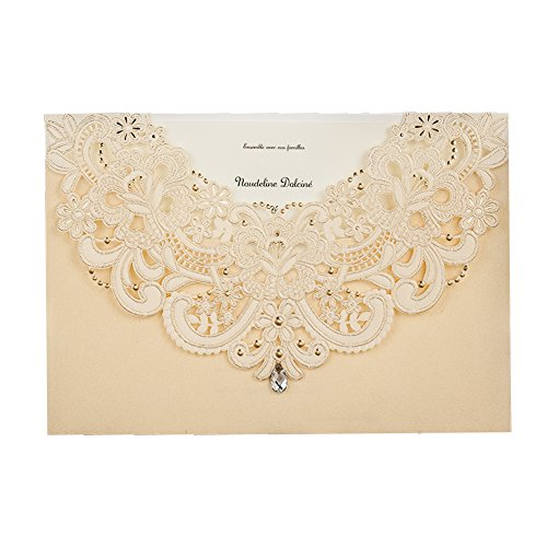 Wishmade 50x Gold Laser Cut Flora & Lace Wedding Invitations Kit With Rhinestone Matched With RSVP & Thank You Card CW6115 (Printable You Birthday Thank Cards)