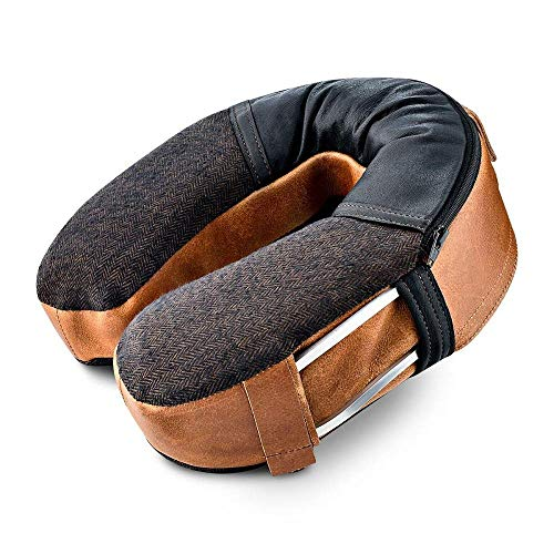 MyJet | Luxury Travel Pillow. Physician Designed Leather Neck Pillow. Patented Internal Support & Headrest Strap…