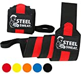 Steel Sweat Wrist Wraps 24 inches for Weight Lifting, Gym and Powerlifting - Premium Grade Heavy Duty to Extreme Strength for best wrist support when Weightlifting - Brace and Guard Your Wrists