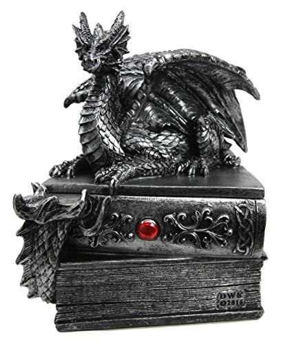 Atlantic Collectibles Medieval Fantasy Beor Dragon Guardian of Knowledge Decorative Secret Trinket Box Figurine 8.25