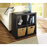Better Homes And Gardens Bookshelf Square Storage Cabinet 4-Cube Organizer, Espresso, Set Of 2