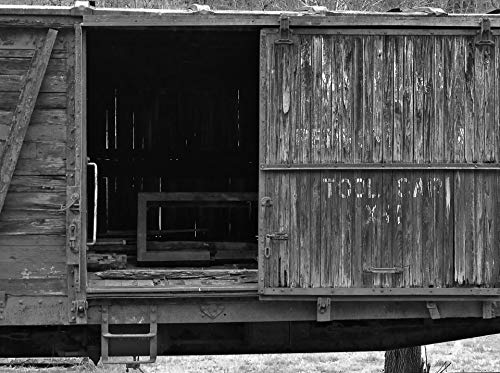 Home Comforts Peel-n-Stick Poster of Box Car Black and White Rail Railroad Train Vivid Imagery Poster 24 x 16 Adhesive Sticker Poster Print