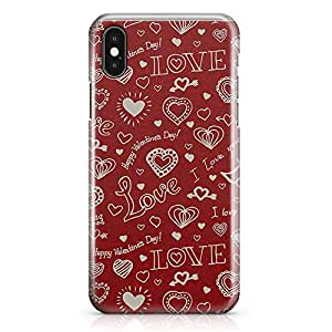 iPhone X Case Valentines Day Couples Love Heart Pattern Tough Modern Wrap Around iPhone 10 Case 14