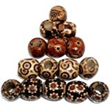 200 Patterned Wood Barrel Drum Beads Mixed Patterns 17mm x 16mm with 7.4mm Large Hole