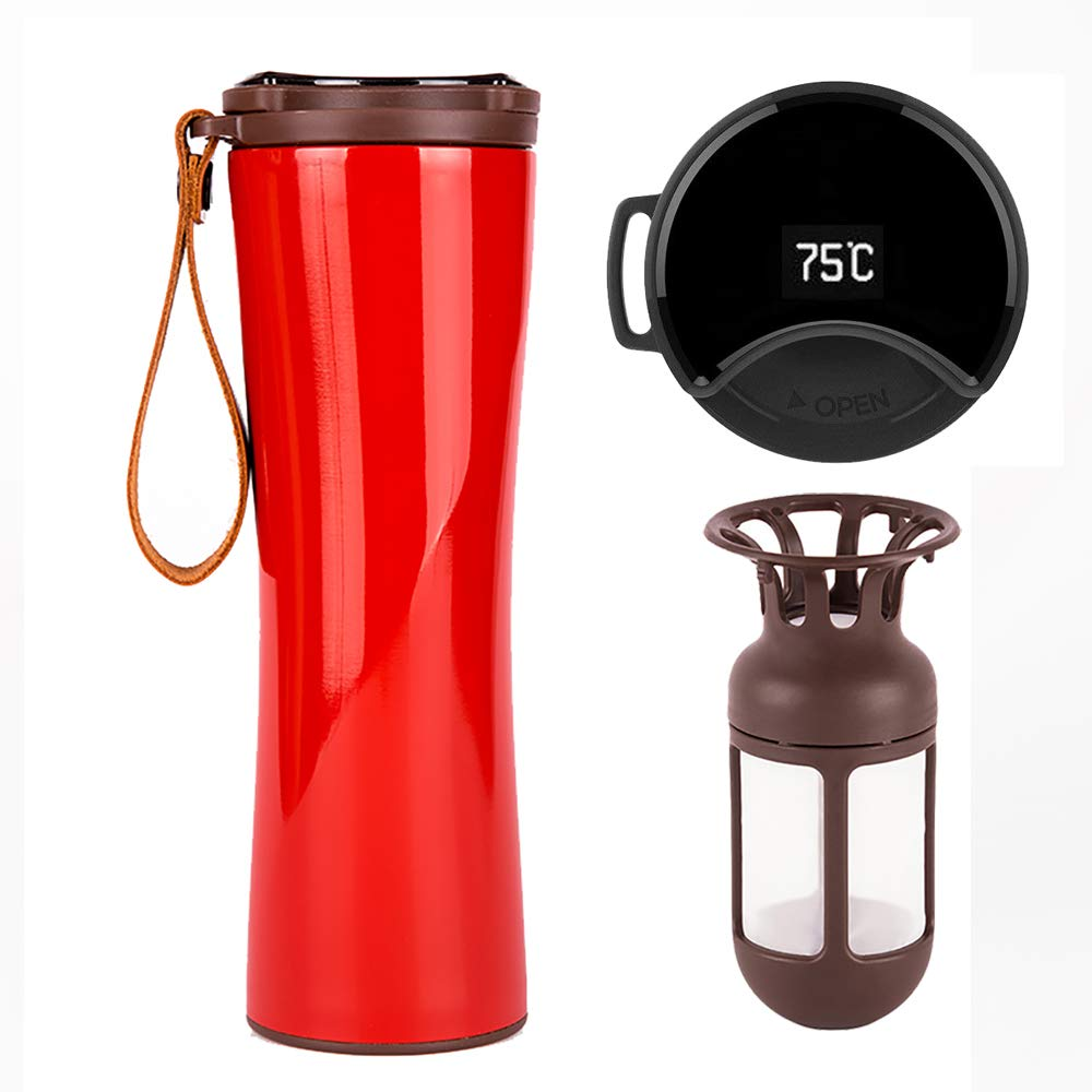 KISS KISS FISH Travel Mug, Smart Coffee Mug with OLED Temperature Display, Stainless Steel Travel Tumbler for Hot or Cold Water/Coffee, Vacuum Flask, 430ml Water Bottle with Coffee Filter (Red)
