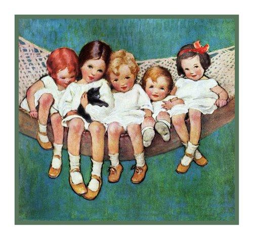 (Orenco Originals Girls Kitten Hammock by Jessie Willcox Smith Counted Cross Stitch Pattern)