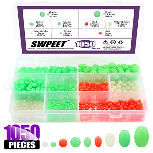 Swpeet 1050Pcs Plastic Oval Shaped Luminous Fishing Beads Assorment Kit, Soft Luminous Fishing Bead Rigging Beads Fishing Lures Biats Beads Fishing Tackle Tools Floats Set for Fishing Rig