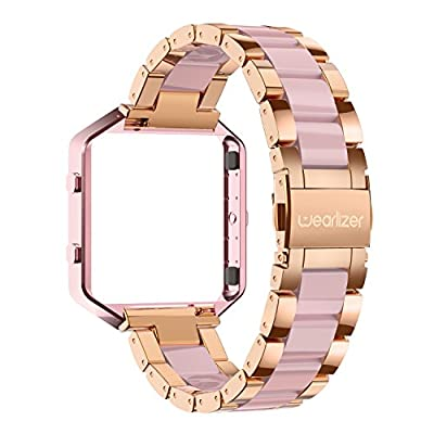 For Fitbit Blaze Bands, Wearlizer Stainless Steel Metal Wristband Replacement with Frame, Resin Bracelet for Fitbit Blaze - Rose Gold + Pink
