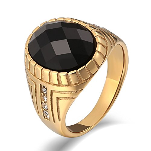 KnSam Stainless Steel Rings for Mens Wedding Rings High Polished Oval Black Zircon 20MM Gold Size -