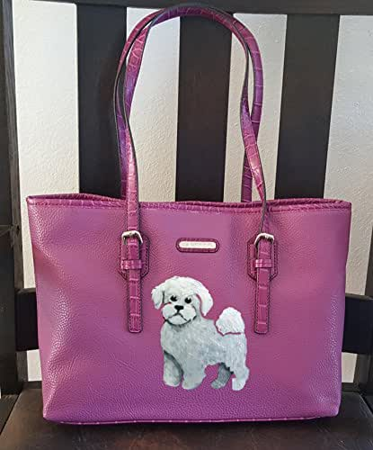 Bichon Frise Dog Hand Painted Purse / Handbag / Tote / Wearable Art - One of a Kind
