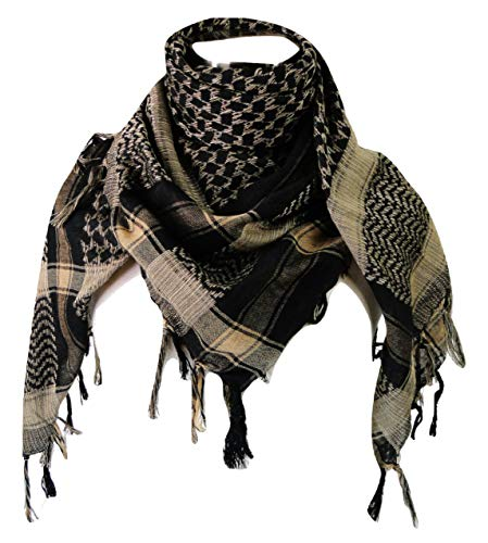 (Premium Shemagh Head Neck Scarf - Black/Camel)