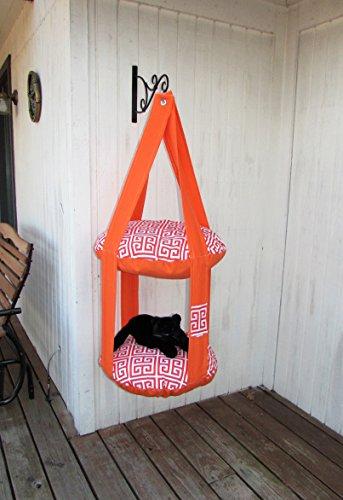Outdoor Cat Bed, Orange & Red Greek Key, 2 Level Kitty Cloud Cat Bed, Hanging Cat Bed, Pet Furniture, Cat Tree, Indoor Outdoor Cat Bed