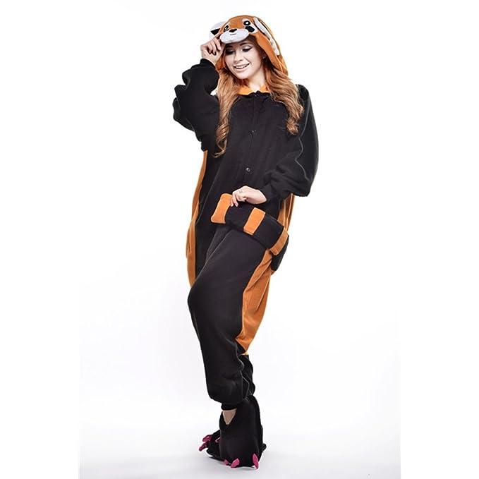JINZFJG Pijamas Siameses de Franela Dibujo Animado Hombre/Mujer Pijama Disfraz Cosplay, Mapache, XL(Altura:178-188cm): Amazon.es: Juguetes y juegos