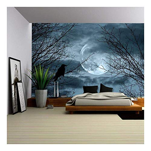 wall26 - Halloween Background with Spooky Forest and Full Moon - Removable Wall Mural | Self-Adhesive Large Wallpaper - 66x96 inches ()