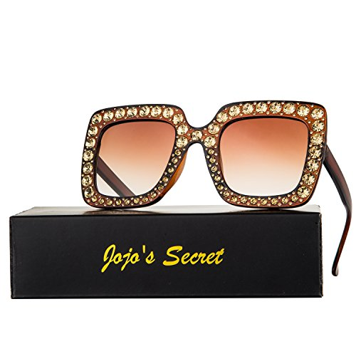 JOJO'S SECRET Crystal Brand Designer Retro Oversized Square Sunglasses For Women JS001 (Brown/Brown, - Square Glasses Best Face For