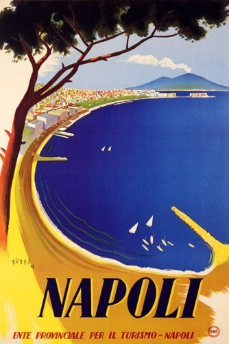 "WONDERFULITEMS NAPOLI NAPLES BAY OCEAN VIEW SAILBOAT BEACH TRAVEL ITALY 20"" X 30"" IMAGE SIZE VINTAGE POSTER REPRO"