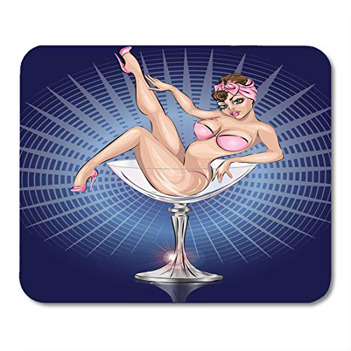 (Boszina Mouse Pads Pop Burlesque Pin Up Sexy Girl Wearing Pink Bikini in Martini Glass Champagne Adult Mouse Pad for notebooks,Desktop Computers mats 9.5