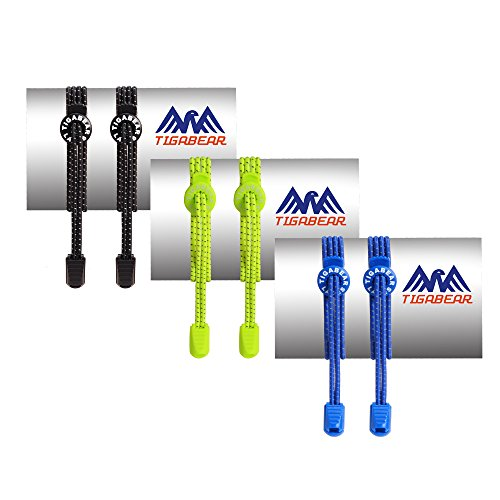 3 Pairs No Tie Shoelaces - Elastic and Reflective Laces with Lock for Athletes, Adults and Kids - Replacement Shoe Strings for Running, Tennis and Golf by Tigabear (Black+Neon Green+Noble Blue) - Replacement Shoelaces