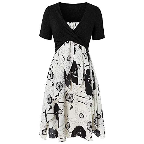 KCatsy Plus Size Floral Print Layered Criss Cross