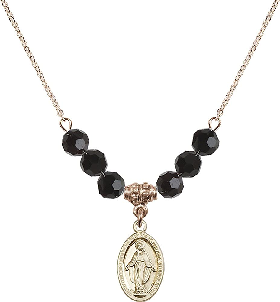 18-Inch Hamilton Gold Plated Necklace with 6mm Jet Birthstone Beads and Gold Filled Miraculous Charm.