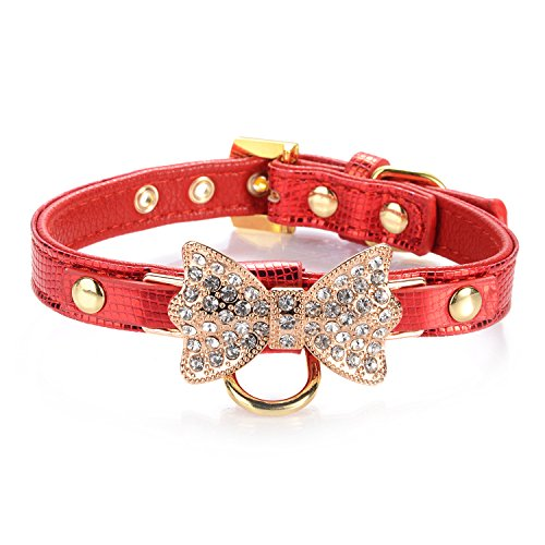 LOVPE Gold Bling Diamond Giltter Leather Fashion Collar with Ring for Tags for Small Dogs,Cat,Puppy and Kitty Walking Travel Party Gifts Tedd, Poodle Dog,Bulldog and Yorkshire Terrier (S, Red) by LOVPE