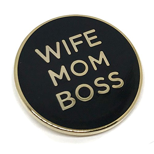 Wife Mom Boss Lapel Pin - Cool Inspirational Message Brooch for Shirt Hat Jacket Hooddie ()
