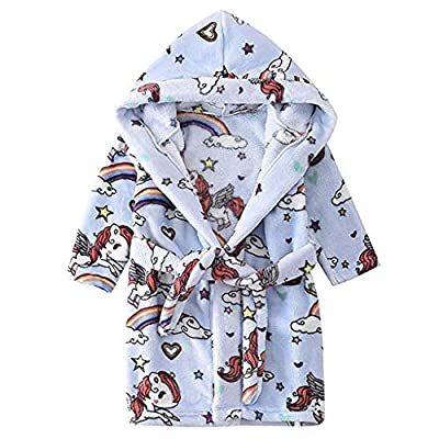 Unisex Pajamas Children's Hooded Towel Sleepwear Solid Fleece Print Flannel Bathrobe Night Gown Nightwear Yamally