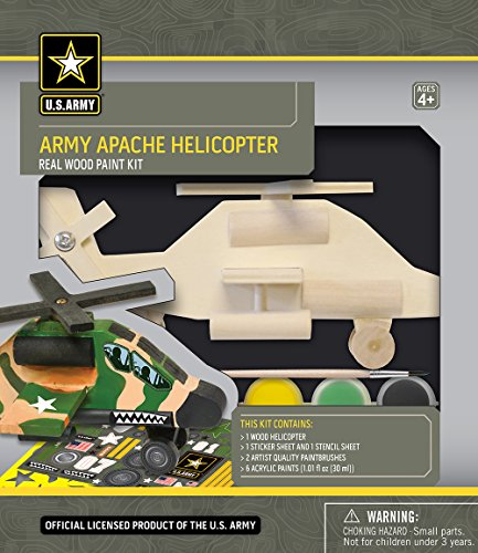 MasterPieces U.S. Army Real Wood Acrylic Paint & Craft Kit, Apache Helicopter, for Ages 4+ ()