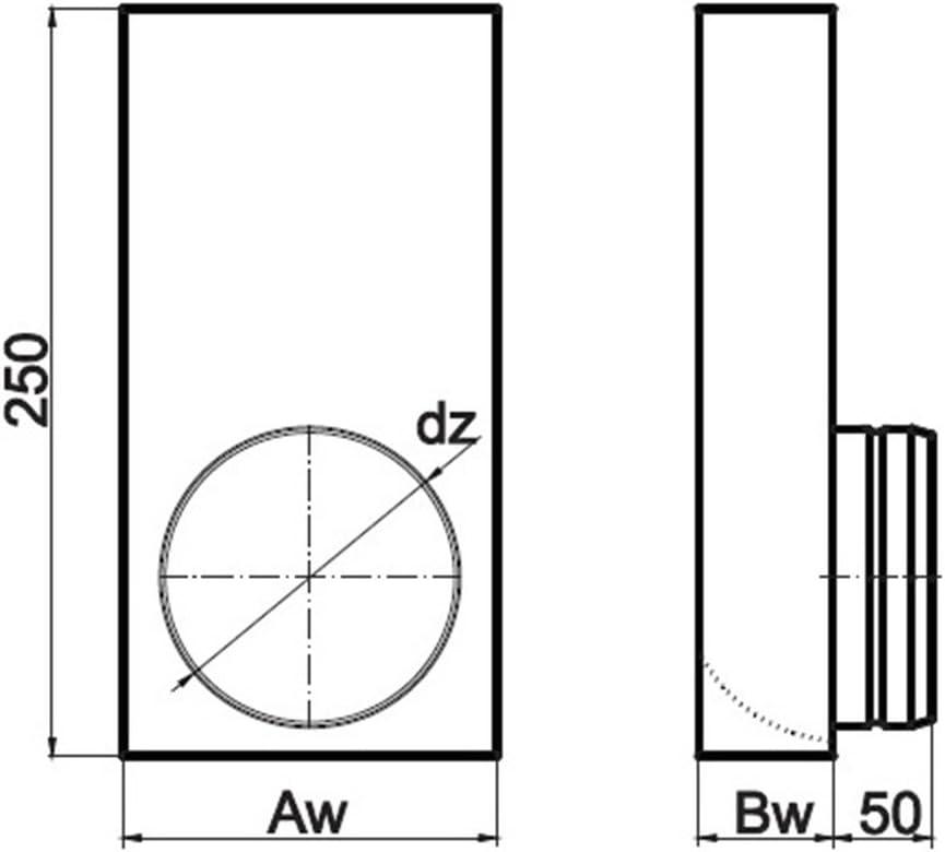 200 x 90 mm Flachkanal zu /Ø 120 mm rund /Übergangsst/ück L Form L/üftung