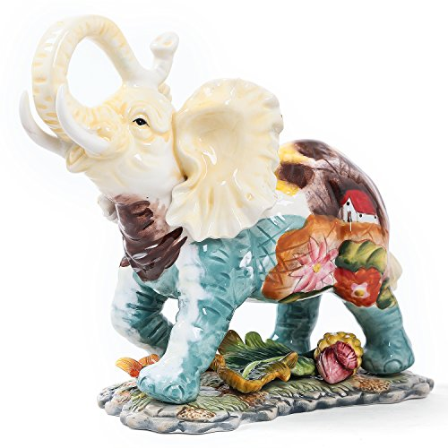 (FORLONG FL6002 3D Hand-Painted Elephant with Trunk Raised Collectible Figurines Statue 10.16