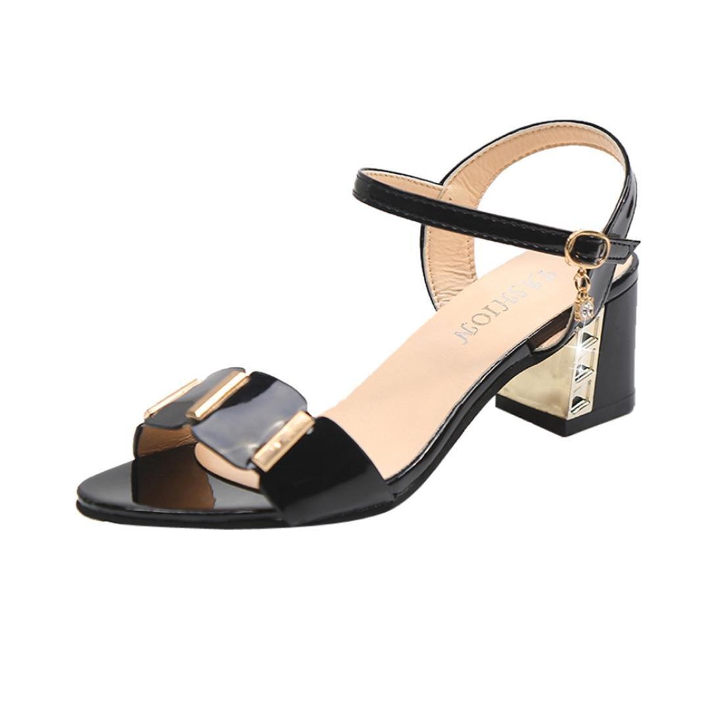 42087655b95 IGEMY Women Sandals, Fashion Women Ladies Sandals Ankle Mid Heel ...