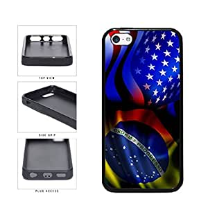 Brazil and USA Mixed Flag TPU RUBBER SILICONE Phone Case Back Cover Apple iPhone 5c