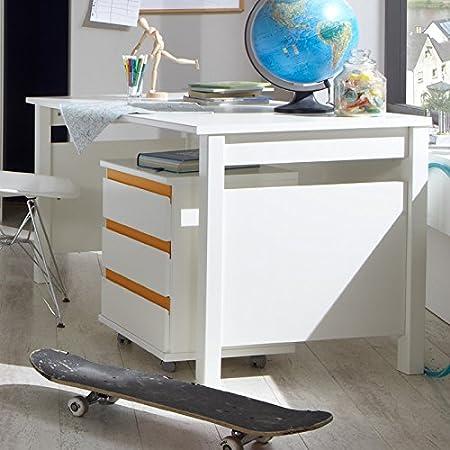 Dormitorio juvenil escritorio Set Color Blanco Naranja Ordenador ...