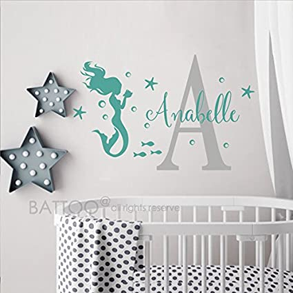 Amazon.com: BATTOO Little Mermaid Wall Decal Personalized Girls Name ...