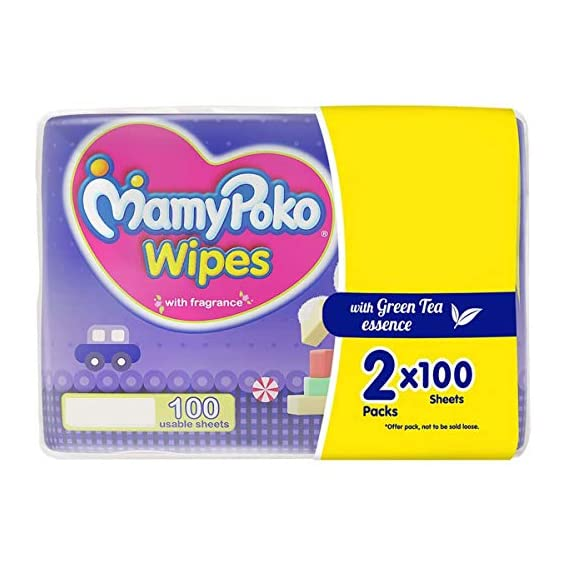 MamyPoko Wipes with Green Tea Essence - Pack of 100 * 2 Wipes with Fragrance (100 * 2 = 200 Wipes)