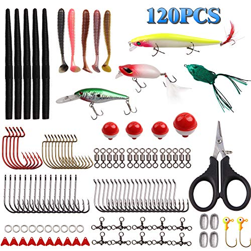 AGOOL Fishing Tackle Kit Freshwater Fishing Lures Tackle - 120 pcs Freshwater Lures Gear Box Soft Lures Hard Baits for Bass Trout Walleye Catfish Pike Pan Fish Jig Hooks Scissor Fishing kit
