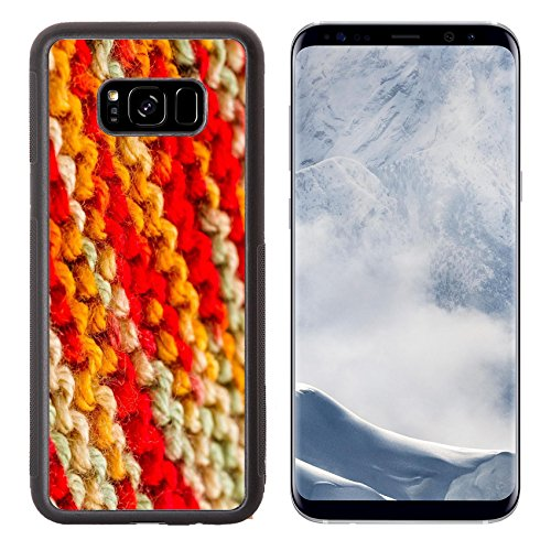 Luxlady Samsung Galaxy S8 Plus S8+ Aluminum Backplate Bumper Snap Case IMAGE ID: 22856242 Knitting with multi colored yarn with orange red and yellow - Edge Stitch Knit