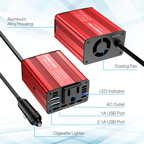 Poweradd 150W Car Power Inverter 12V/DC to 110V/AC Converter with Dual USB Ports (3.1A Total) for Smartphones, Tablet, Laptop, Breast pump, Nebulizer and More - Red by POWERADD (Image #1)