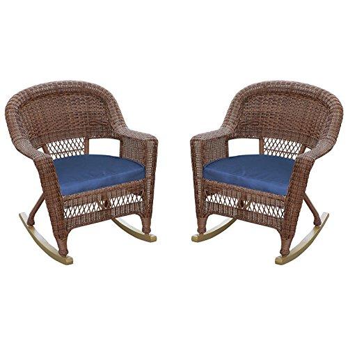 Weather Wicker Rocker (Resin Wicker Rocker Chair with Cushion by Jeco - Set of 2)