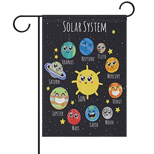Yochoice ALAZA Cute Solar System Sun Moon Planets Emoji Polyester Garden Flag House Banner 12 x 18 inch, Two Sided Welcome Yard Decoration Flag for Wedding Party Home Decor