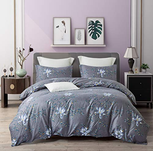 (ViviLinen Duvet Cover Feast of Flowers Fade Resistant Bedding Linens Ultra Soft 3-Pieces Quilt Cover Set (Queen))