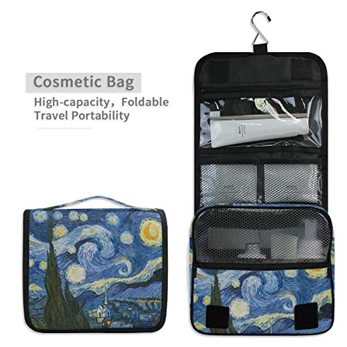 Toiletry Organizer Wash Bag,Vincent Van Gogh Art Oil Painting Starry Night? Portable travel bathroom shower bags Deluxe Large Capacity Waterproof Pouch Kit with Hook for Men and Woman
