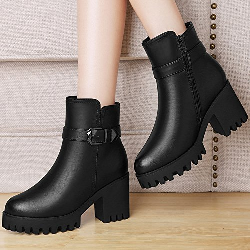 six Belt Rough High Ladies Buckle Boots Heel Thirty KHSKX Shoes Heel Extra Heeled Boots Martin Short Coarse Martin 8Cm Winter Cashmere Boots vqxnw51