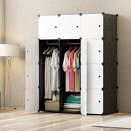 MEGAFUTURE Portable Wardrobe for Hanging Clothes, Combination Armoire, Modular Cabinet for Space ...