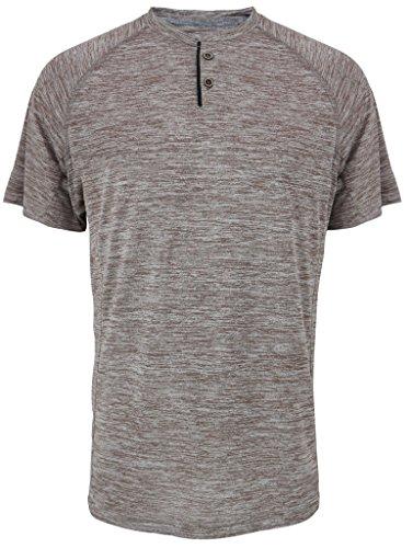 Leehanton Men's Active Moisture-Wicking Sport Tech Marble Performance Henley T-Shirt ()