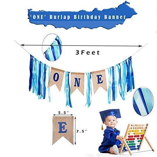 1st Birthday Boy Banner Blue Star Hanging Banner First Birthday Photo Banner Happy Birthday ONE Burlap Banner GoodYH Baby Boy First Birthday Decorations High Chair Banner Glitter Cake Topper